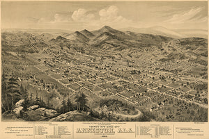 Anniston, Alabama - 1888 - Aerial Bird's Eye View Map Poster