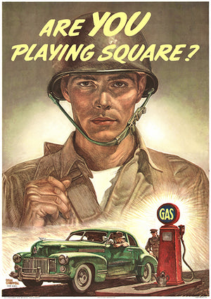 Are You Playing Square - 1944 - World War II - Propaganda Magnet