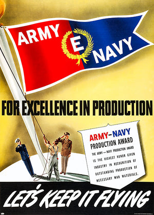 Army Navy - Keep It Flying - 1940's - World War II - Propaganda Poster