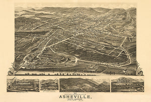 Asheville, North Carolina - 1891 - Aerial Bird's Eye View Map Poster