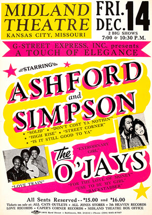 Ashford & Simpson - The O'Jays - 1984 - Concert Poster