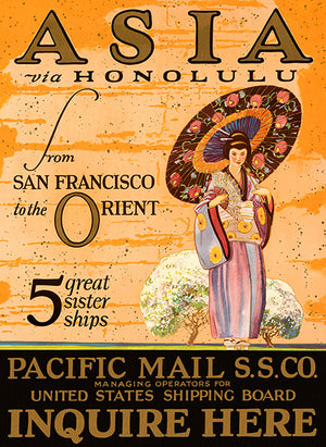 Asia Via Honolulu - Pacific Mail S.S. Co. - 1923 - Travel Poster Magnet