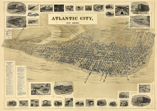 Atlantic City, New Jersey - 1900 - Aerial Birds Eye View Map Poster