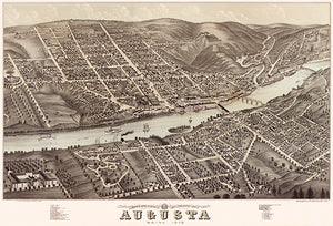 Augusta, Maine - 1878 - Aerial Bird's Eye View Map Poster