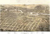 Aurora, Illinois - 1867 - Aerial Birds Eye View Map Poster