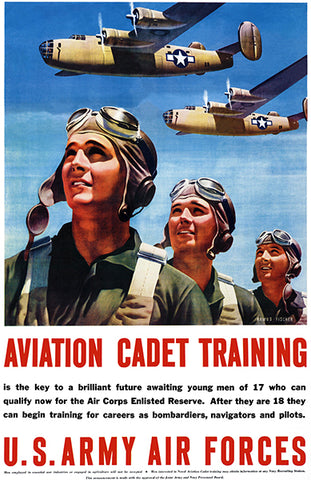 Aviation Cadet Training - 1943 - US Army Air Forces - Military Recruitment Poster