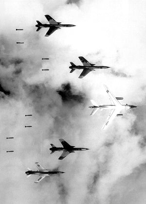 B-66 Destroyer & F-105 Thunderchiefs - Bomb Drop - Vietnam - Photo Poster