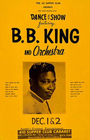 B B King - 1966 - Seattle WA - Concert Poster