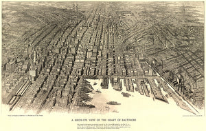 Baltimore, Maryland - 1912 - Aerial Bird's Eye View Map Poster