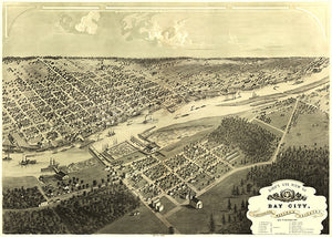 Bay City, Michigan - 1867 - Aerial Bird's Eye View Map Poster