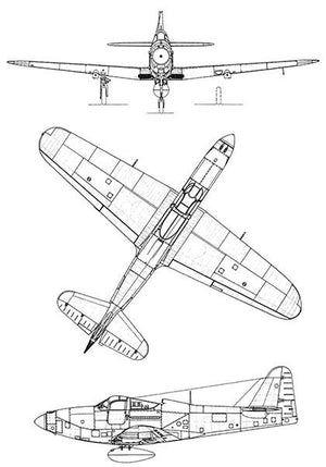 Bell P-63 Kingcobra - Blueprint Magnet