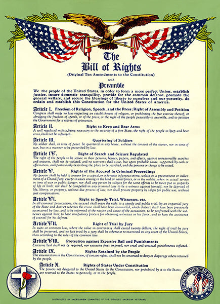 Bill Of Rights - Original Ten Amendments Constitution With Preamble Veterans Poster