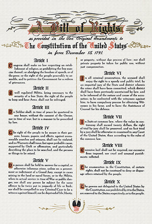 Bill Of Rights - Ten Original Amendments - Constitution US - 1791 - Poster