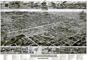 Birmingham, Alabama - 1885 - Aerial Bird's Eye View Map Poster