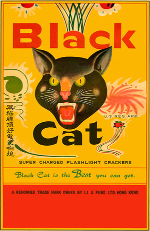 Black Cat Super Charged Flashlight Crackers - 1970's - Promotional Advertising Magnet