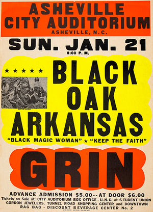 Black Oak Arkansas - Grin - 1973 - Concert Poster
