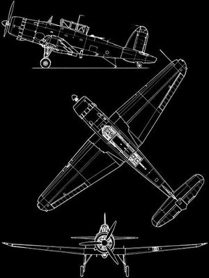 Blackburn B-24 Skua - Blueprint Magnet