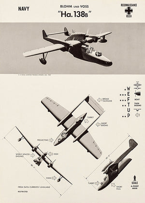 Blohm & Voss BV 138 - Sea Dragon - Flying Clog - 1943 - World War 2 - Aircraft Recognition Poster