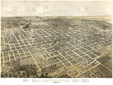 Bloomington, Illinois - 1867 - Aerial Birds Eye View Map Poster