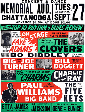 Bo Diddley - Etta James - 1955 - Chattanooga TN - Concert Poster