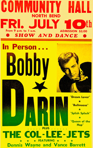 Bobby Darin - 1959 - North Bend OR - Concert Poster