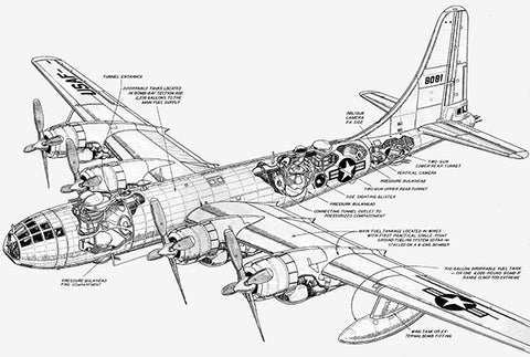Boeing B-50 Bomber - Cutaway Drawing Poster