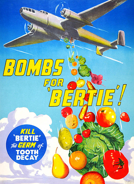 Bombs For 'Bertie - 1940's - Health Poster