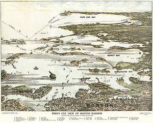 Boston Harbor South Shore Region, Massachusetts - 1920 - Aerial Bird's Eye View Map Poster