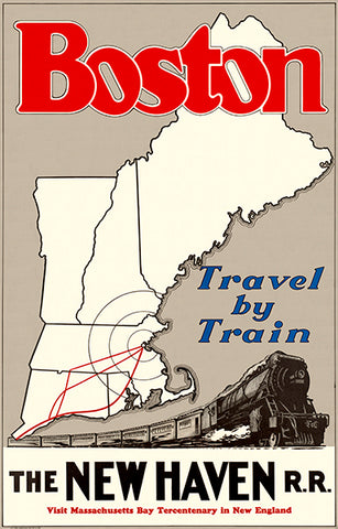 Boston - Travel By Train - New Haven - 1930's - Travel Poster
