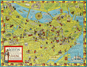 Boston, Massachusetts - 1950 - Pictorial Map Poster