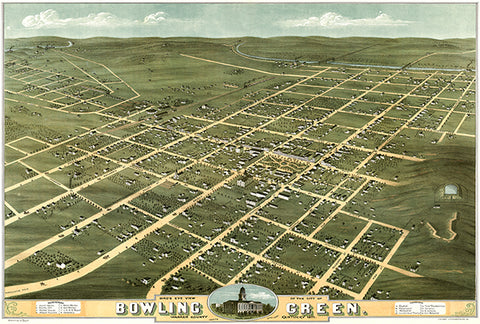 Bowling Green, Warren County, Kentucky - 1871 - Aerial View Bird's Eye Map Poster