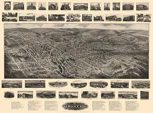 Bristol, Connecticut - 1906 - Aerial Bird's Eye View Map Poster