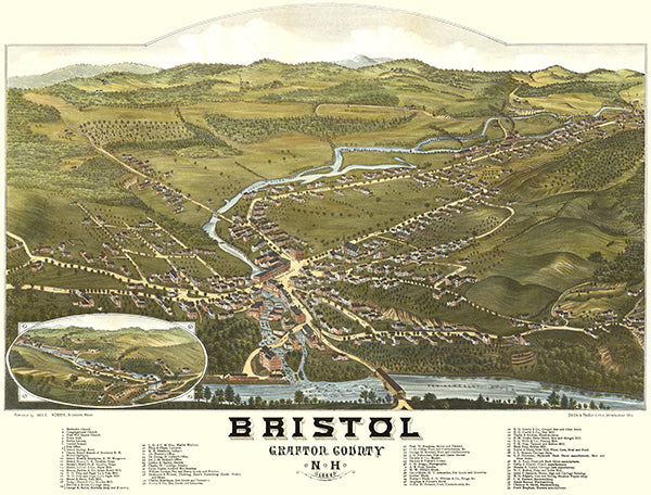 Bristol, New Hampshire - 1884 - Aerial Birds Eye View Map Poster