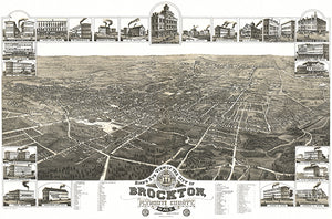 Brockton, Massachusetts - 1882 - Aerial Bird's Eye View Map Poster
