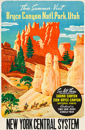 Bryce Canyon National Park, Utah - New York Central System - 1930's - Travel Poster Magnet