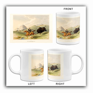 Buffalo Hunt Chase Back - 1844 - Illustration Mug