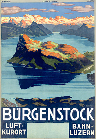B��rgenstock - Switzerland - Funiculaire Railway - 1930's - Travel Poster