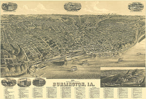 Burlington, Iowa - 1889 -  Aerial Bird's Eye View Map Poster