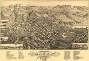 Butte, Montana - 1884 - Aerial Bird's Eye View Map Poster