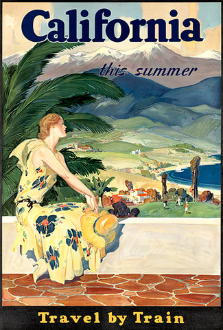 California This Summer - Travel By Train - 1930's - Travel Poster