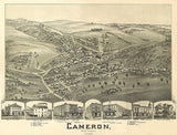 Cameron, West Virginia - 1899 - Aerial Birds Eye View Map Poster