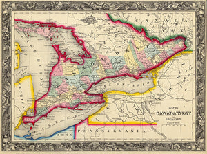 Canada West In Counties - 1860 - Map Poster