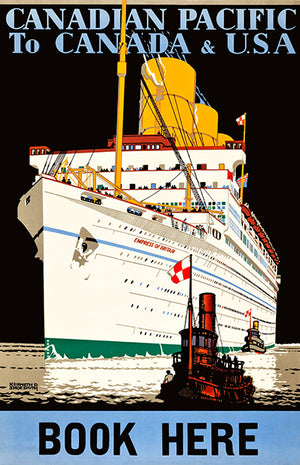 Canadian Pacific - Canada To USA - Empress Of Britain Ship - 1933 - Travel Poster