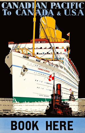 Canadian Pacific - Canada To USA - Empress Of Britain Ship - 1933 - Travel Poster Magnet