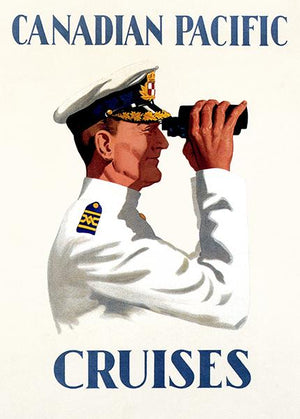Canadian Pacific - Captain Cruise Ship Great Lakes Binoculars - Travel Poster Magnet