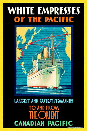 Canadian Pacific - White Empress Steamship - The Orient - 1930 - Travel Poster Magnet