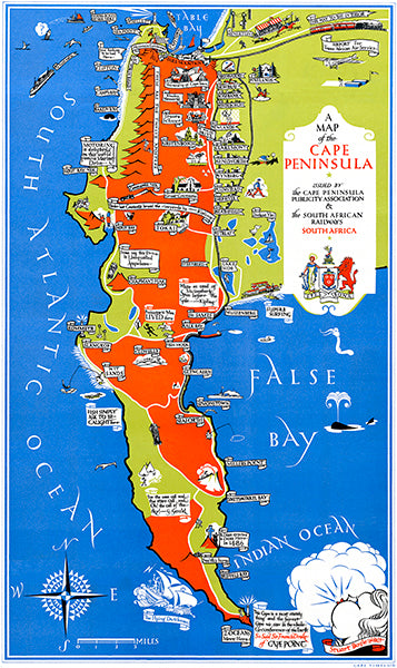 Cape Peninsula, South Africa - 1939 - Pictorial Map Poster