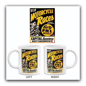 Capital Speedway West Sacramento Motorcycle Races - 1960's - Advertising Mug