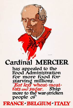 Cardinal Mercier - France Belguim Italy - 1918 - World War I - Propaganda Poster