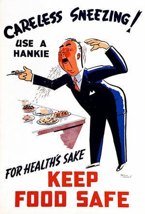 Careless Sneezing Use A Hankie - 1950's - Health Magnet